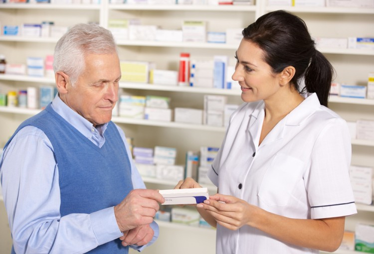 pharmacist, senior, man, talking, helpful, nhs, helping, counter, medication, older, american, drugs, woman, shelves, male, pack, usa, medical, practice, horizontal, adult,