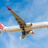 virgin, australia, blue, mode, travel, mid-air, 737, business, locations, jet, people, vehicle, tasmania, transport, airplane, hobart, outdoors, transportation, tourism, airport,