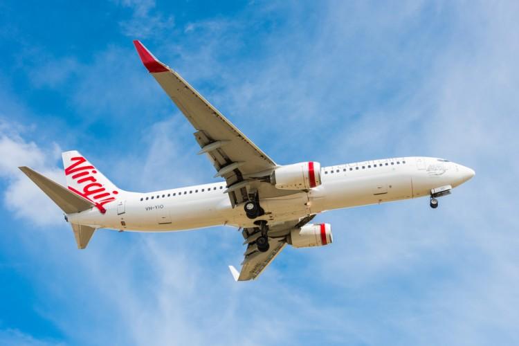 virgin, australia, blue, mode, travel, mid-air, 737, business, locations, jet, people, vehicle, tasmania, transport, airplane, hobart, outdoors, transportation, tourism, airport,