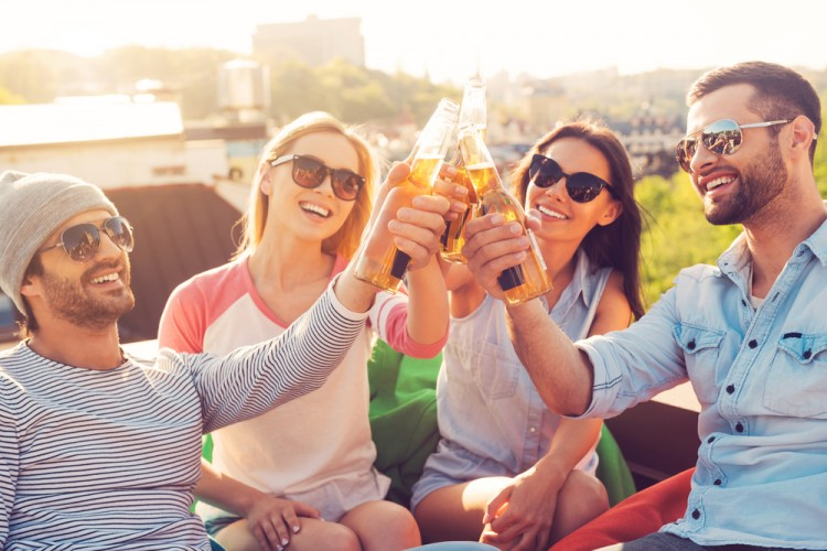 beer, cheering, garden, food, drink, urban, alcohol, candid, fun, men, group, young, eyewear, vitality, sunlight, bonding, life, adult, male, skyline, celebration, people,