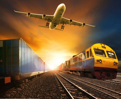 Container with train and plane