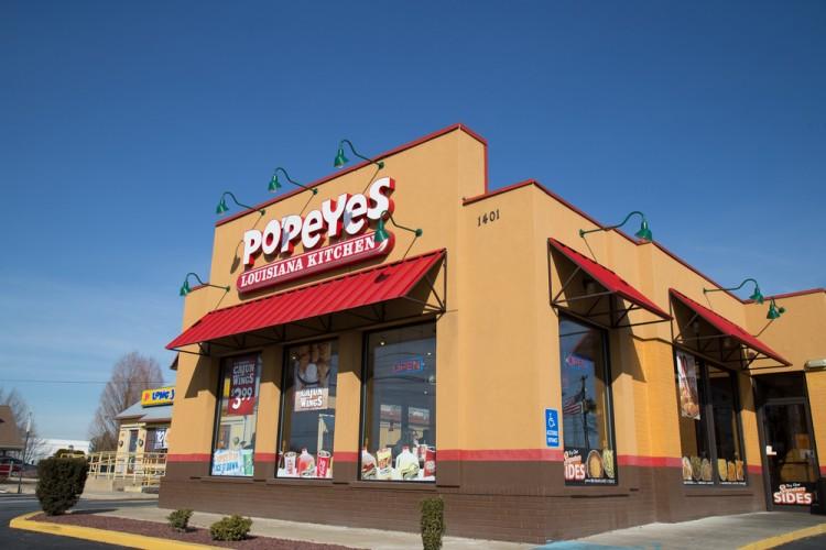 PLKI, Fast Food, Exterior of Popeyes Louisiana Kitchen Restaurant location. Popeyes Louisiana Kitchen is a chain restaurant that serves fast-food chicken at over 2500 locations