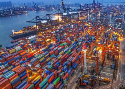 MIC, industrial port with containers, blue, brown, bulk, business, car, cargo, city, commerce, commercial, container, crane, day, deliver, delivery, dock, export, freight, goods, harbor, haul, heavy, industrial, industry, large, lifting, loading, logistic, lorry, many, maritime, nobody, port, red, road, sea, ship, shipment, shipping, stack, stacking, storage, terminal