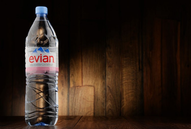 beverage, bottle, brand, container, drink, evian, france, french, glass, grocery, illustrative editorial, international, label, liquid, logo, mineral, natural, original, plastic, water